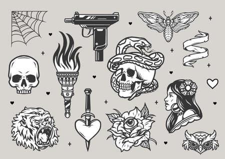 Vintage tattoos monochrome set with skulls burning torch gorilla owl heads death's head moth pretty woman cobweb UZI gun rose with eye heart pierced with dagger isolated vector illustration Ilustracja