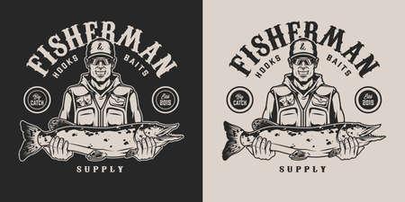 Vintage monochrome fishing emblem with happy fisherman holding big pike on dark and light backgrounds isolated vector illustration Ilustracja