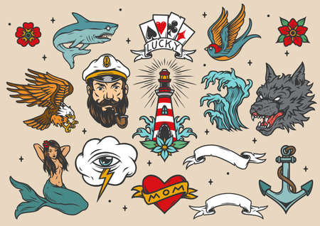 Nautical vintage colorful tattoos set with marine and sea elements isolated vector illustration