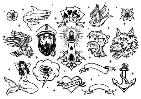 Vintage marine and nautical tattoos set in monochrome style isolated vector illustration