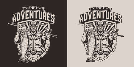 Fishing vintage logotype with inscription happy bearded angler holding fishing rod and trout in monochrome style isolated vector illustration Ilustracja