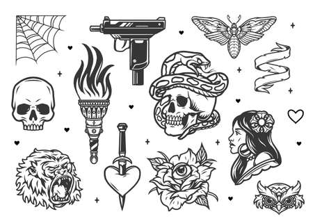 Vintage tattoo designs collection in black and white colors isolated vector illustration