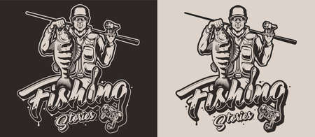 Fishing vintage monochrome design with original lettering fishing float and reel smiling fisherman with caught bass isolated vector illustration