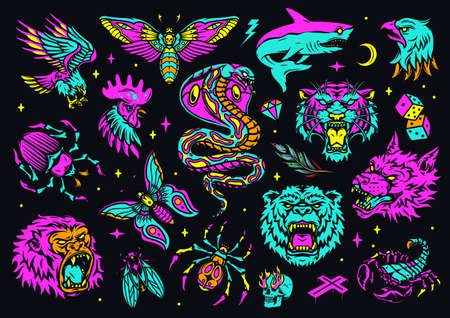 Vintage colorful tattoos composition with angry animals heads shark birds insects dice lightning diamond cross skull with flames from eyes sockets on dark background isolated vector illustration
