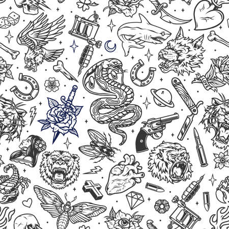 Vintage tattoos seamless patterns with different elements in monochrome style vector illustration