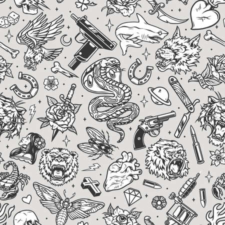 Vintage tattoos seamless pattern with snake shark scorpio wolf bear gorilla tiger heads eagle dagger insects weapon horseshoe razor hearts skull pretty woman dice bones vector illustration