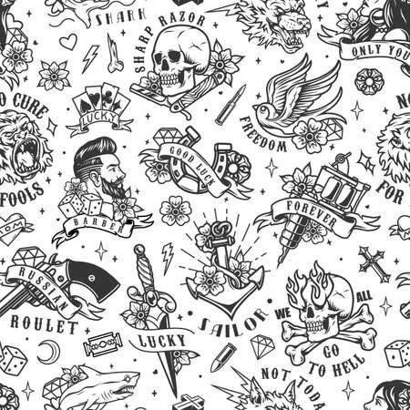 Tattoos vintage seamless pattern with pretty woman skull tattoo machine anchor stylish man swallow razor gorilla wolf heads shark dagger dice diamond flowers vector illustration Ilustracja