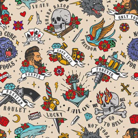 Colorful vintage tattoos seamless pattern with inscriptions animals skull anchor dagger stylish man pretty woman gun flowers dice tattoo machine horseshoe razor diamonds vector illustration