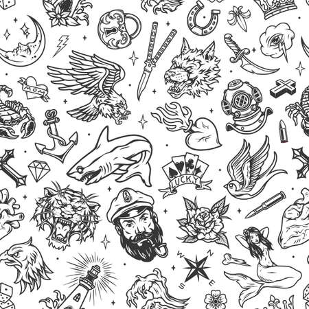 Vintage marine tattoos seamless pattern with sea and nautical elements in monochrome style vector illustration Ilustracja