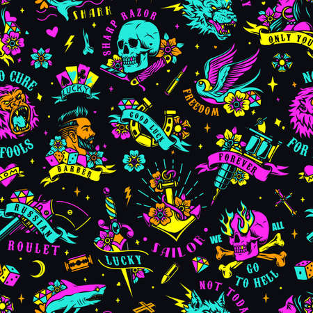 Bright colorful tattoos seamless pattern with animals skull horseshoe stylish man woman dagger tattoo machine skulls gun playing cards dice razor diamonds anchor hearts bullets vector illustration