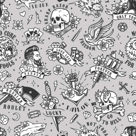 Vintage tattoos seamless pattern with animals marine barbershop gambling emblems and labels in monochrome style vector illustration