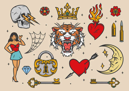 Colorful vintage tattoos with pretty woman angry tiger head padlock keys crescent with human face cobweb royal crown diamond hearts bullets flowers skull with lightnings isolated vector illustration