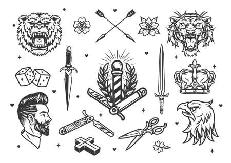 Vintage monochrome tattoos composition with angry animals heads swords hipster barber elements royal crown dice crossed arrows flowers isolated vector illustration