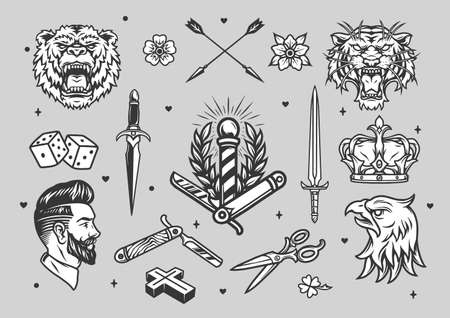 Vintage tattoos monochrome set with barber animals arrows swords crown dice flowers designs isolated vector illustration