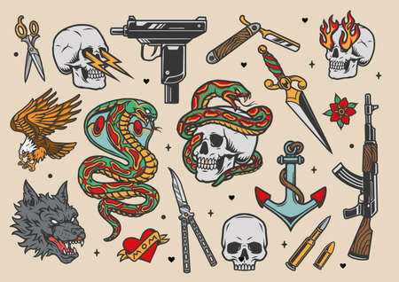 Tattoos vintage colorful set with weapon scissors bullets angry wolf head eagle snake anchor butterfly knife dagger skulls with lightnings and fire from eye sockets isolated vector illustration