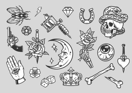 Vintage tattoos composition with monochrome designs on gray background isolated vector illustration