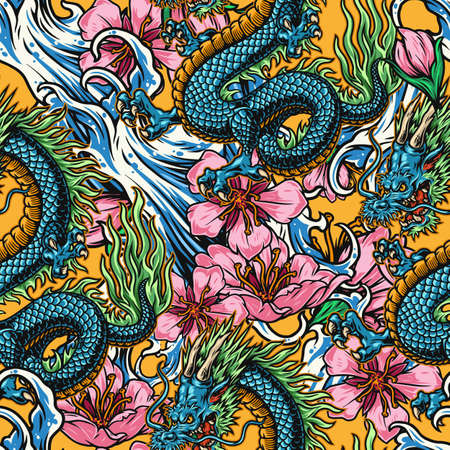 Vintage japanese colorful seamless pattern with horned fantasy dragon sea waves and sakura flowers vector illustration Stock Illustratie
