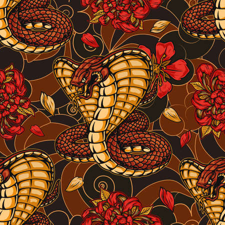 Japanese vintage seamless pattern with king cobra chrysanthemum and sakura flowers on abstract background vector illustration