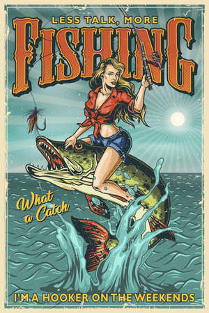 Fishing vintage colorful poster with beautiful woman holding fishing rod and sitting on pike which jumping out of water on sunbeams background vector illustration