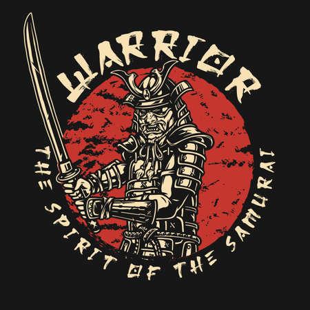 Vintage samurai label with japanese warrior holding katana isolated vector illustration