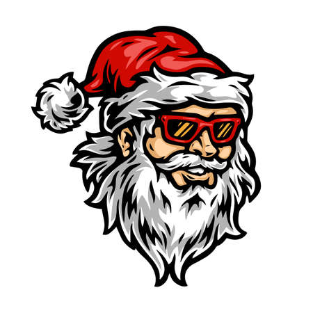Christmas Santa Claus head vintage concept with red hat and plastic sunglasses on white background isolated vector illustration Illusztráció