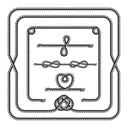 Marine rope pattern brush template in vintage style on white background isolated vector illustration