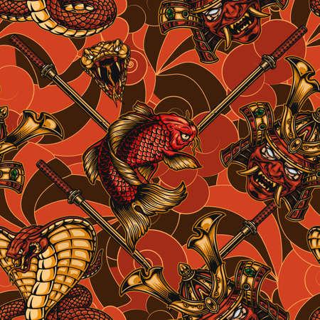 Japanese elements vintage seamless pattern with katana sword poisonous snake head samurai mask in helmet koi carp angry king cobra vector illustration Ilustracja