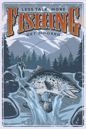 Fishing colorful poster in vintage style with fisher caught big trout in river on trees and mountains landscape vector illustration