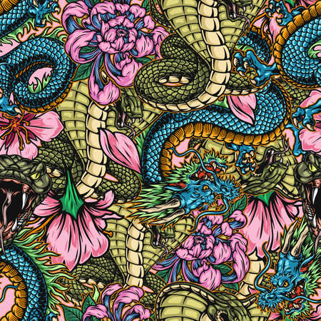 Japanese colorful vintage seamless pattern with poisonous snakes fantasy dragons chrysanthemum and sakura flowers vector illustration