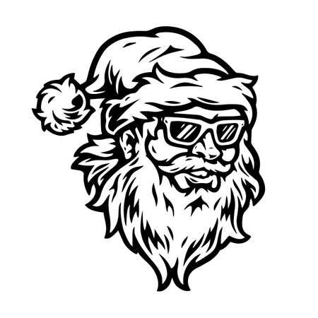Happy Santa Claus head in hat and sunglasses in vintage monochrome style isolated vector illustration