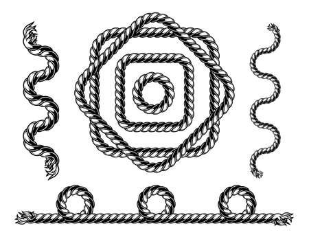Rope vintage pattern brush template in black and white colors isolated vector illustration Ilustracja