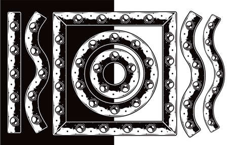 Metal plate with rivets brush pattern in vintage monochrome style isolated vector illustration Ilustracja
