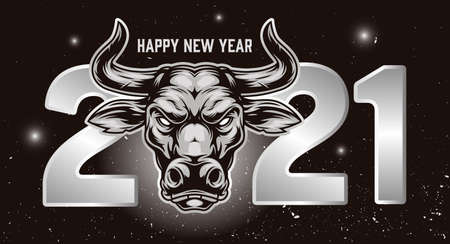 Happy New Year festive vintage concept with greeting inscription 2021 numbers and ox head on space background vector illustration