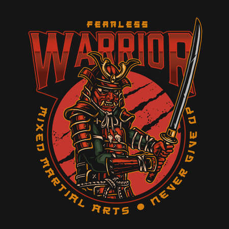 Vintage MMA colorful logotype with samurai warrior in armor helmet and mask holding katana isolated vector illustration
