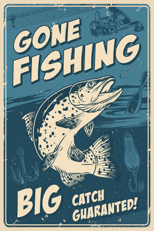 Fishing vintage poster with trout and fishing rod bait hook float in monochrome style vector illustration Ilustracja