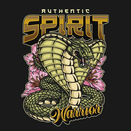 Japanese warrior spirit colorful vintage label with poisonous snake and sakura flowers isolated vector illustration Ilustracja