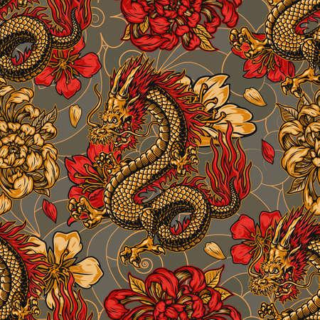 Japanese style vintage seamless pattern with horned fantasy dragon chrysanthemum and sakura flowers vector illustration