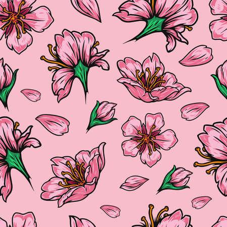 Seamless pattern of sakura flowers and petals on pink