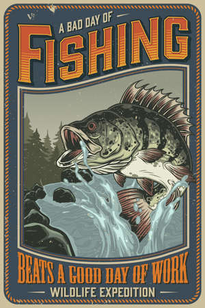 Fishing vintage poster with big perch and water splashes on mountain river landscape illustration Ilustracja