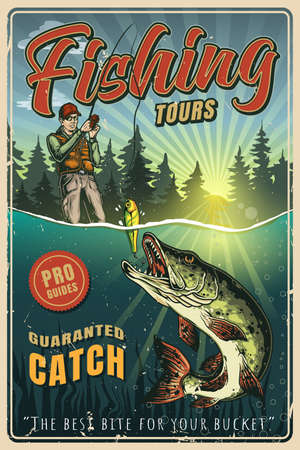 Vintage colorful fishing poster with fisherman caught pike on bait illustration