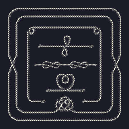 Rope vintage pattern brush composition with frame and different knots in monochrome style illustration