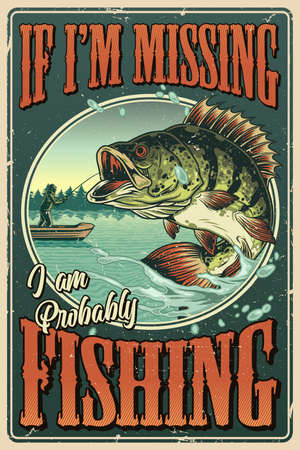 Vintage colorful fishing poster with inscriptions big bass fish and fisherman on boat vector illustration