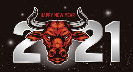Happy New Year vintage template with 2021 elegant numbers and serious  bull head on space background vector illustration