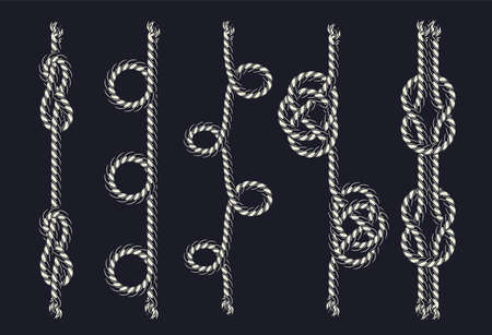 Rope pattern brush template with various loops and knots in vintage monochrome style isolated vector illustration Ilustracja