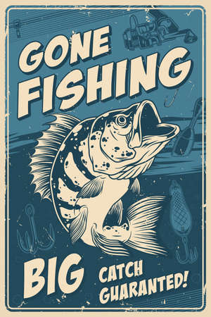 Fishing vintage monochrome poster with inscriptions and big perch on fishing rod lure float and hook background vector illustration Ilustracja