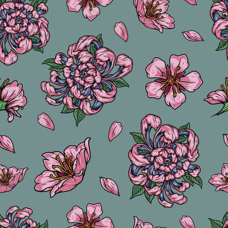 Vintage floral seamless pattern with beautiful pink japanese flowers and petals vector illustration