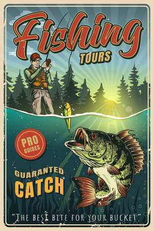 Fishing colorful vintage poster with fisherman in baseball cap caught big perch on lure vector illustration