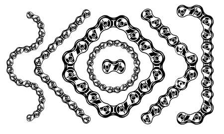 Bicycle chain brush vintage template with various shapes in monochrome style isolated vector illustration