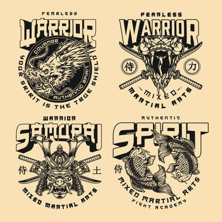 Fight academy vintage emblems