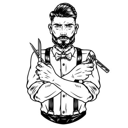 Trendy barber with beard and mustache illustration